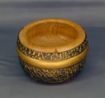 Dave Simpson, textured and stained oak bowl